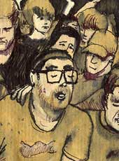 Dan Deacon's concert in Baltimore (ink and coffee)